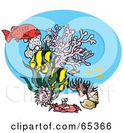 Royalty Free RF Clipart Illustration Of A Crab Corals And Other Marine Fish Swimming In The Sea by Dennis Holmes Designs