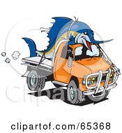 Royalty Free RF Clipart Illustration Of A Billfishblue Marlin Fish Tied On Top Of An Orange Ute by Dennis Holmes Designs