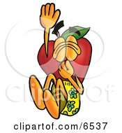 Red Apple Character Mascot Plugging His Nose While Jumping Into Water Clipart Picture