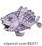 Royalty Free RF Clipart Illustration Of A Purple Fish With Sharp Teeth Eyelashes And Big Scales