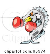 Royalty Free RF Clipart Illustration Of A Boxing Yellowbelly Fish