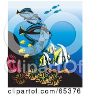 Royalty Free RF Clipart Illustration Of Blue Tangs And Tropical Fish At A Coral Reef by Dennis Holmes Designs
