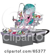 Royalty Free RF Clipart Illustration Of An Octopus Fishing Junk Out Of A Tackle Box by Dennis Holmes Designs