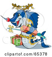 Royalty Free RF Clipart Illustration Of A Blue Marlin Fish Wearing Antlers And Carrying Presents by Dennis Holmes Designs