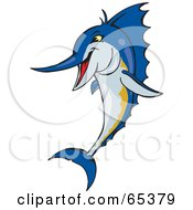 Royalty Free RF Clipart Illustration Of A Blue Marlin Fish Leaping by Dennis Holmes Designs