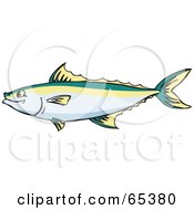 Royalty Free RF Clipart Illustration Of A Profiled King Mackerel Fish by Dennis Holmes Designs