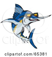 Royalty Free RF Clipart Illustration Of A Blue Marlin Fish Wearing Shades by Dennis Holmes Designs