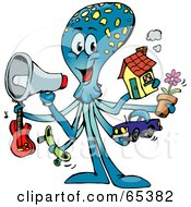 Royalty Free RF Clipart Illustration Of A Blue Octopus Holding A Megaphone Guitar Skateboard Car Flower And House by Dennis Holmes Designs