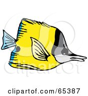 Royalty Free RF Clipart Illustration Of A Yellow Butterfly Fish With Blue Rear Fins by Dennis Holmes Designs