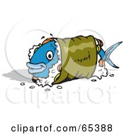Royalty Free RF Clipart Illustration Of A Blue Fish Wrapped In A Sushi Roll by Dennis Holmes Designs