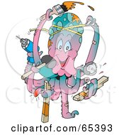 Royalty Free RF Clipart Illustration Of A Handy Octopus Working On Home Improvement Projects by Dennis Holmes Designs