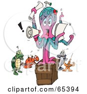 Royalty Free RF Clipart Illustration Of A Bossy Octopus On A Box Shouting Out Instructions by Dennis Holmes Designs
