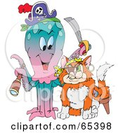 Royalty Free RF Clipart Illustration Of A Pirate Octopus And Cat by Dennis Holmes Designs
