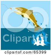 Royalty Free RF Clipart Illustration Of A Fish Leaping To Bite A Lure by Dennis Holmes Designs
