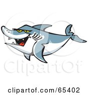 Royalty Free RF Clipart Illustration Of A Swimming Shark With Mean Yellow Eyes by Dennis Holmes Designs