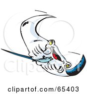 Royalty Free RF Clipart Illustration Of A Swimming Manta Ray Swooping Right by Dennis Holmes Designs