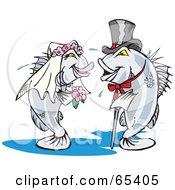 Royalty Free RF Clipart Illustration Of A Barramundi Bride And Groom Getting Married