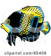 Royalty Free RF Clipart Illustration Of A Blue Black And Yellow Butterfly Fish by Dennis Holmes Designs