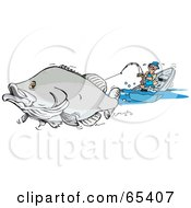 Royalty Free RF Clipart Illustration Of A Large Barramundi Fish Pulling A Man In A Boat