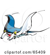 Royalty Free RF Clipart Illustration Of A Swimming Manta Ray Swooping Left by Dennis Holmes Designs