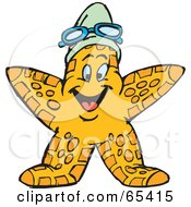 Royalty Free RF Clipart Illustration Of A Happy Yellow Starfish Wearing A Swim Cap And Goggles by Dennis Holmes Designs