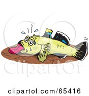Royalty Free RF Clipart Illustration Of A Dying Goby Fish On Dry Land