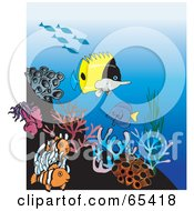 Royalty Free RF Clipart Illustration Of Clownfish Butterfly Fish And Sea Anemones At A Coral Reef by Dennis Holmes Designs