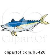 Long Blue And Yellow Tuna Fish