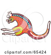 Royalty Free RF Clipart Illustration Of A Red Aboriginal Styled Kangaroo by Dennis Holmes Designs