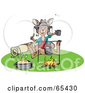 Royalty Free RF Clipart Illustration Of A Kangaroo Hanging Out Beside A Camp Fire by Dennis Holmes Designs