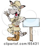 Safari Kangaroo Leaning On A Sign And Waving