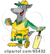 Royalty Free RF Clipart Illustration Of A Kangaroo Taking A Break From A Cricket Game To Drink by Dennis Holmes Designs