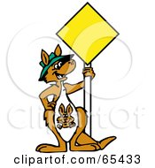 Kangaroo With A Joey Standing By A Blank Yellow Sign
