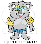 Royalty Free RF Clipart Illustration Of A Koala Wearing Swimming Arm Floaties