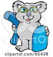Koala Wearing Swim Goggles And Holding A Noodle And Boogie Board