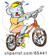 Royalty Free RF Clipart Illustration Of A Sweaty Koala Riding A Bicycle