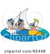 Royalty Free RF Clipart Illustration Of A Koala Platypus And Cockatoo Sailing