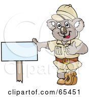 Safari Koala Leaning Against A Blank Sign