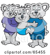 Royalty Free RF Clipart Illustration Of A Koala Family In Swim Clothes