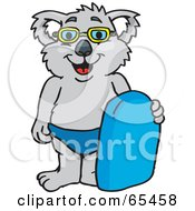 Royalty Free RF Clipart Illustration Of A Koala In Swim Shorts And Goggles Holding A Body Board