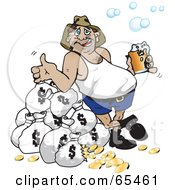 Royalty Free RF Clipart Illustration Of A Fat Bloke Drinking Beer And Leaning Against Money Bags
