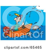 Royalty Free RF Clipart Illustration Of A Lone Man Fishing And Watching A Fly by Dennis Holmes Designs