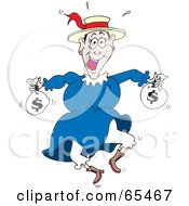 Royalty Free RF Clipart Illustration Of A Happy Woman Leaping And Carrying Money Bags
