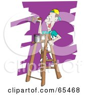 Royalty Free RF Clipart Illustration Of A Happy Man Painting A Wall Purple