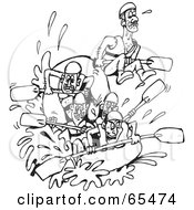 Royalty Free RF Clipart Illustration Of A Black And White Team Of White Water Rafters by Dennis Holmes Designs #COLLC65474-0087