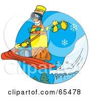 Royalty Free RF Clipart Illustration Of An Orange Soda Bottle Sledding
