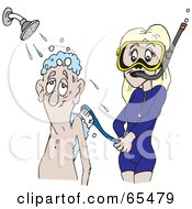Pretty Woman In Snorkel Gear Scrubbing Down An Elderly Man In The Shower