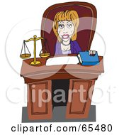 Royalty Free RF Clipart Illustration Of A Female Attorney Sitting Behind A Desk