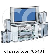 Royalty Free RF Clipart Illustration Of A Home Entertainment Center With Surround Sound And A Plasma Tv