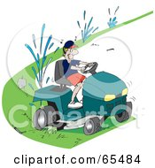 Royalty Free RF Clipart Illustration Of A Clueless Man Running Over Sprinklers While Riding A Lawn Mower by Dennis Holmes Designs